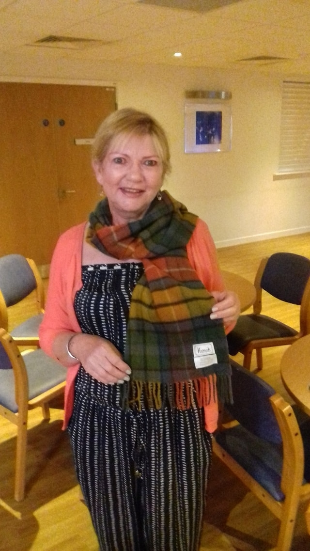 Anna the Breast Care Nurse bags a genuine Harrods scarf - what a bargain!
